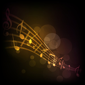 Vector illustration of musical background with musical notes.