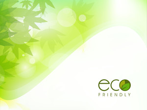 Vector Illustration Of Nature And Waves Background  With Green Leaves And Text Eco Friendly