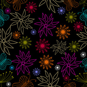 Vector Illustration Of Seamless Floral Pattern.