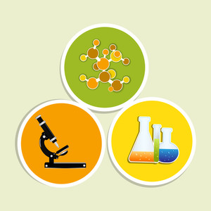 Vector Illustration Of Seamless Molecule Medical Background With Microscope