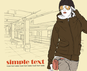 Vector Illustration Of Stylish Girl At Subway Station .