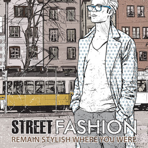 Vector Illustration Of Stylish Guy And Old Tram.