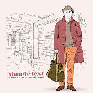 Vector Illustration Of Stylish Guy At Subway Station .