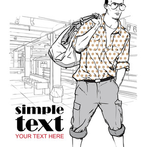 Vector Illustration Of Stylish Guy At Subway Station.
