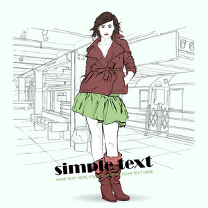 Vector Illustration Of The Fashion Girl At  Subway Station .