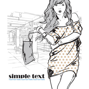 Vector Illustration Of The Pretty Girl At Subway Station.
