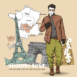 Vector Illustration Of The Stylish Guy On A French Background.