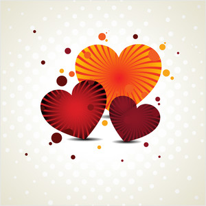 Vector Illustration Of Three Heart Shapes With Rays Work On Seamless Dotted Background.