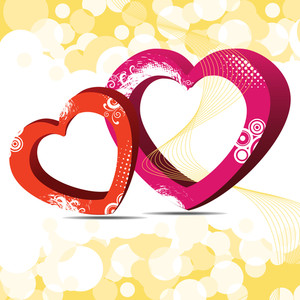 Vector Illustration Of Two Decorative Heart Shapes On Beautiful Wave Background.