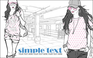 Vector Illustration Of Two Fashion Girls At Subway Station .