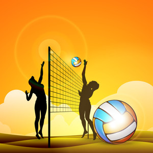 Vector Illustration Of Two Gilrs Playing Volley Ball