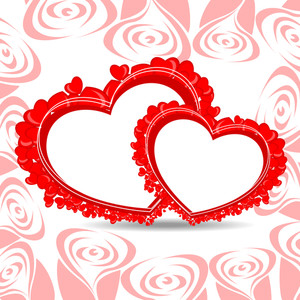 Vector Illustration Of Two Heart Shape Frame With Copy Space.