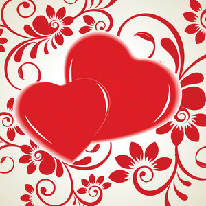 Vector Illustration Of Two Heart Shapes On Floral Background.