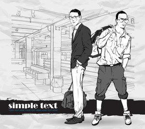 Vector Illustration Of Two Stylish Guys At Subway Station.