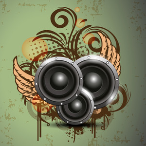 Vector illustration of wing with speaker on vintage background