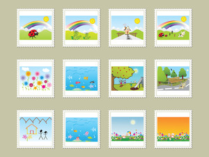 Vector Illustration Post Stamps