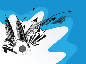 Vector Illustration Soccer City Background