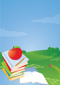 Vector Illustration. To School. Stack Of Books On The Desktop, Apple And Pencil.