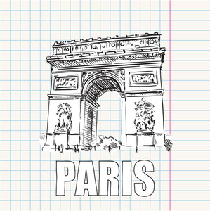 "Vector Illustration With "" Arc De Triomphe"" And Text."