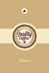 Vector Illustration With Badge And Coffee Bean (editable Text)