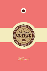 Vector Illustration With Badge And Coffee Cup (editable Text)