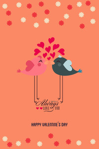 Vector Illustration With Bird Heart Text  And  (editable Text)