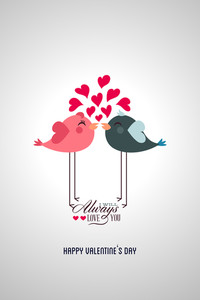 Vector Illustration With Bird Heart Text  And Love (editable Text)