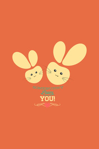 Vector Illustration With Bunnies And  (editable Text)