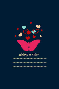 Vector Illustration With Butterfly Hearts  And  (editable Text)