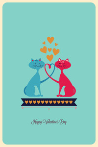 Vector Illustration With Cats Heart Ribbon And  (editable Text)