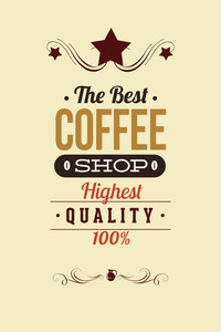 Vector Illustration With Coffee Shop And Star (editable Text)