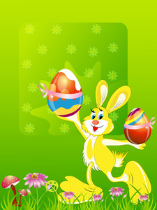 Vector Illustration With Easter Bunny. Happy Easter.