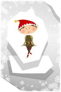 Vector Illustration With Elf And Decorations (editable Text)