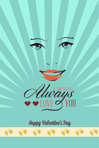 Vector Illustration With Face Mouth Hearts  And  (editable Text)
