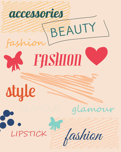 Vector Illustration With Fashion Doodle Elements (editable Text)