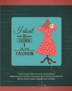 Vector Illustration  With Fashion Typography And Lady Dress (editable Text)