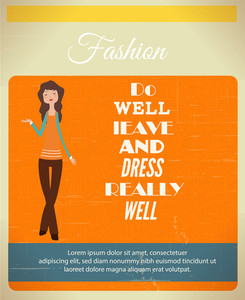 Vector Illustration  With Fashion Typography And Woman (editable Text)