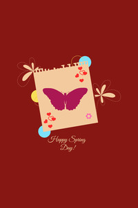 Vector Illustration With Flower Butterfly  And  (editable Text)
