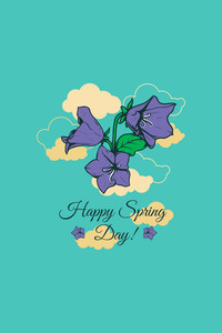 Vector Illustration With Flower Clouds  And  (editable Text)