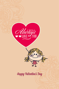 Vector Illustration With Girl Heart And  (editable Text)