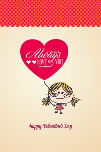 Vector Illustration With Girl Heart And Love (editable Text)