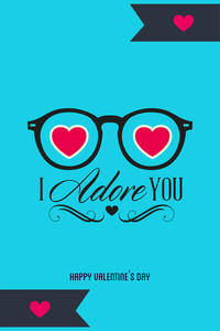 Vector Illustration With Glasses Heart (editable Text)