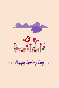 Vector Illustration With Happy Spring And  (editable Text)