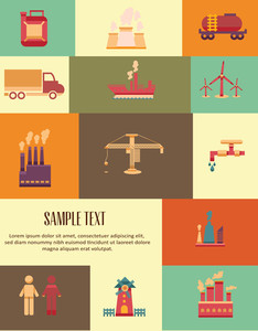 Vector Illustration With Industrial Elements (editable Text)