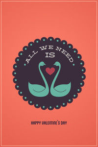 Vector Illustration With Love Birds And Love Elements (editable Text)
