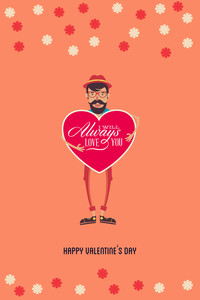 Vector Illustration With Man Heart  And  (editable Text)