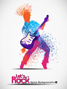 Vector Illustration With Musical Node Effect And Boy With Guitar.