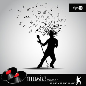 Vector Illustration With Musical Node Effect And Boy With Mic.