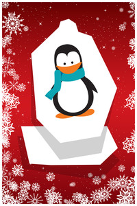 Vector Illustration With Penguin And Decorations (editable Text)