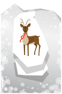 Vector Illustration With Reindeer And Decorations (editable Text)